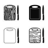 Tabla de cortar de la cocina y sistema de la silueta del vector de los cuchillos Imagen de archivo libre de regalías