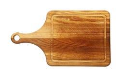 Tabla de cortar oscura de madera de roble aislada en blanco fotografía de archivo