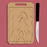 Tabla de cortar y cuchillo de madera realistas ilustración del vector