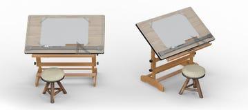 Tabla de dibujo de madera con las herramientas y el taburete, inclu de la trayectoria de recortes Imagen de archivo libre de regalías