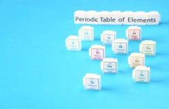 Tabla de elementos periódica. Foco selectivo. concepto de la educación de la ciencia imagen de archivo libre de regalías