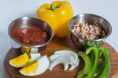 Tabla de ingredientes para la comida sana Fotografía de archivo