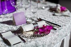Tabla de la boda Imágenes de archivo libres de regalías