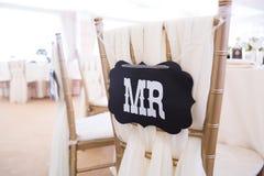 Tabla de la boda con Sr. muestra fotografía de archivo libre de regalías