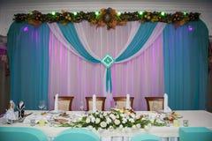 Tabla de la boda de la porción en el tema del Año Nuevo Imagen de archivo
