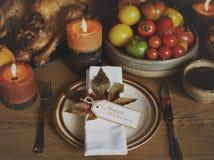 Tabla de la celebración de la acción de gracias de Turquía de la servilleta de tabla que fija Conce Fotografía de archivo libre de regalías
