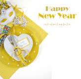Tabla de la Feliz Año Nuevo con el texto de la muestra Imagenes de archivo
