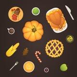 Tabla de la opinión superior del menú del plato de la acción de gracias con la historieta asada del vector del pavo Calabaza con  ilustración del vector