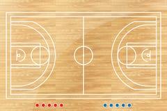 Tabla de la táctica del baloncesto con las marcas. Fotografía de archivo