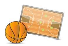 Tabla de la táctica del campo del baloncesto, bolas del baloncesto Fotos de archivo libres de regalías