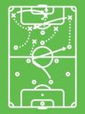 Tabla de la táctica del fútbol/del fútbol Esquema de los ataques Línea arte Fotografía de archivo libre de regalías