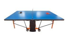 Tabla de los tenis de mesa para el juego. Estafa y bola en ella. Fotos de archivo