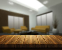 Tabla de madera con el interior del sitio en fondo Fotos de archivo