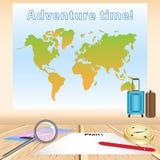 Tabla de madera con la hoja de papel en blanco para planear el viaje, pluma roja, p ilustración del vector