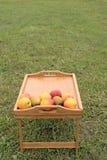 Tabla de madera con las frutas en un fondo de la hierba verde Fotos de archivo libres de regalías