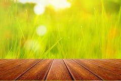 Tabla de madera de la perspectiva en campo de la naturaleza del fondo de la falta de definición de la hierba verde Fotos de archivo