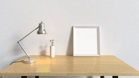 Tabla de madera en el sitio blanco y la lámpara de plata 3d del marco del espacio en blanco rendir interiores ilustración del vector