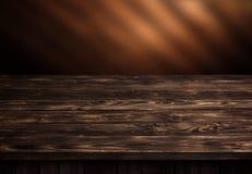 Tabla de madera oscura, interior de madera marrón de la perspectiva imagen de archivo