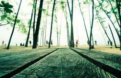 Tabla de madera por la playa Imágenes de archivo libres de regalías