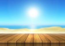 Tabla de madera que mira hacia fuera al paisaje defocussed de la playa stock de ilustración