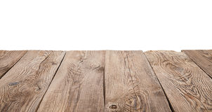 Tabla de madera vieja aislada en el fondo blanco Fotos de archivo libres de regalías