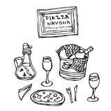 Tabla de Ristorante del italiano Pizza, vino en un cubo de hielo, copas de vino, aceite picante con la pimienta, bifurcación, cuc libre illustration