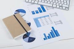 Tabla de trabajo con gráficos de negocio y un teclado de ordenador Fotos de archivo libres de regalías