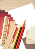 Tabla de trabajo del diseño interior fotos de archivo