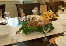 Tabla de Turquía de la comida de la acción de gracias del día de fiesta Imagen de archivo libre de regalías