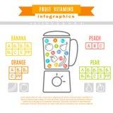 Tabla de vitaminas en fruta Fotografía de archivo libre de regalías