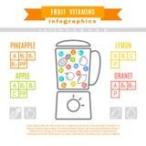Tabla de vitaminas en fruta Imagenes de archivo