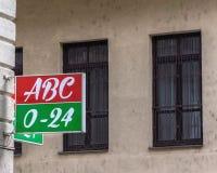 Tabla del colmado en Budapest foto de archivo libre de regalías