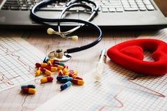 Tabla del doctor con los artículos médicos Fotos de archivo libres de regalías