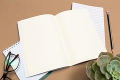 Tabla del escritorio de oficina con los vidrios del cuaderno suculentos y el lápiz Mofa encima de la plantilla Visión superior foto de archivo