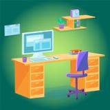 Tabla del espacio de trabajo, silla y estantes - ordenador con la página web libre illustration