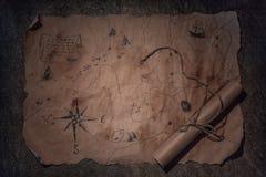 Tabla del pirata, interior de la cabina del capitán imágenes de archivo libres de regalías