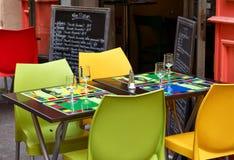 Tabla del restaurante en Provence Fotografía de archivo