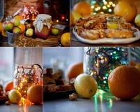 Tabla del ` s del Año Nuevo Guirnalda, brillando intensamente en un tarro de cristal Entre la fruta cítrica collage Imagen de archivo libre de regalías