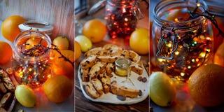 Tabla del ` s del Año Nuevo Guirnalda, brillando intensamente en un tarro de cristal Entre la fruta cítrica collage Imagen de archivo