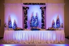 Tabla elegante, de lujo del abastecimiento de la recepción nupcial, la Navidad ellos Fotografía de archivo libre de regalías