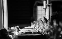 Tabla en una recepción del entierro de la boda Imagen de archivo libre de regalías