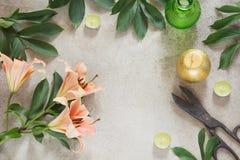 Tabla femenina creativa con las velas, las tijeras y la flor Visión superior con el espacio de la copia Foto de archivo libre de regalías