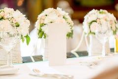 Tabla fijada para el banquete de boda imagenes de archivo
