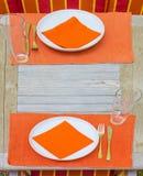 Tabla fijada para una comida Imagen de archivo
