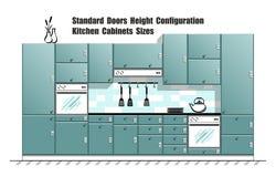 Tabla gráfica con tamaños estándar de la puerta, planificador de los armarios de cocina Imágenes de archivo libres de regalías