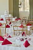 Tabla preparada para la boda Imágenes de archivo libres de regalías