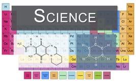 Tabla química de la ciencia de la investigación del experimento de la vinculación de los elementos C ilustración del vector