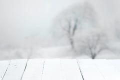 Tabla rústica vacía en un paisaje del invierno Fotos de archivo