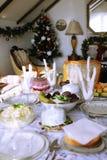 Tabla servida la Navidad (cerveza de malta) Imagen de archivo