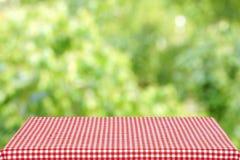 Tabla vacía con un paño a cuadros rojo en el jardín del verano Fondo enmascarado Imagenes de archivo